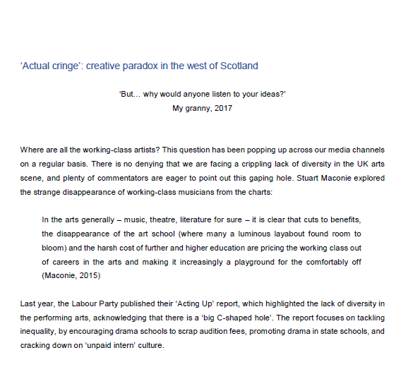 CLICK IMAGE FOR KATE'S ESSAY. 'ACTUAL CRINGE:CREATIVE PARADOX IN THE WEST OF SCOTLAND'.
