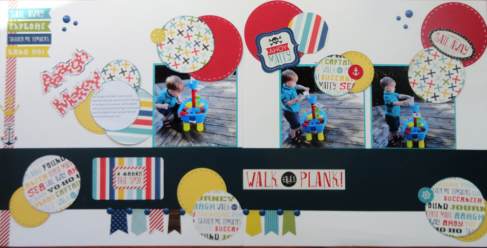 "This is a layout that I created using photos of my grandson.  We had bought this little pirate ship for him to be used outside so that he could fill it with water.  The Echo Park Collection ""A Pirate's Life"" was perfect for this layout.  I cut out some circles and used a white pen or a red pen to add some dashes around the plain circles.  I also used some of the stickers from the collection and a title using my Silhouette machine."