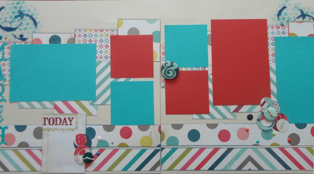 "This layout I used a Tim Holtz stencil called ""Bubble"" as well as one called ""Splatter""."