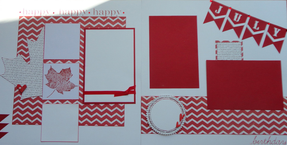 "I loved creating this layout and was proud of how it turned out.  I first typed out the words for ""O Canada"" using a very small font and single spacing.  Then I put the paper through my Silhouette machine to create the Maple Leaf shape.  In this layout, I only had the Red Chevron paper to use for a pattern paper so I wanted to add another pattern of some sort.  That is why I came up with the idea to create the paper with the words for ""O Canada""."
