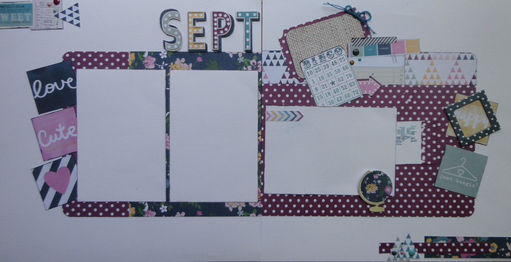 "This September layout was made, using the ""So Fancy"" line from Simple Stories.  In this class, I was trying to show the ladies how to use fancy cutting to create your own embellishments.  We also stamped the Bingo card with a blue Ombre ink from Hero Arts and added a few enamel dots."