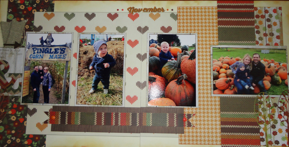 "Loved these photos of my grandson.  The paper from Simple Stories ""Sweater Weather was perfect for the Fall theme.  The title ""November"" was created with Tim Holtz Thinlits die ""Calendar Words""."