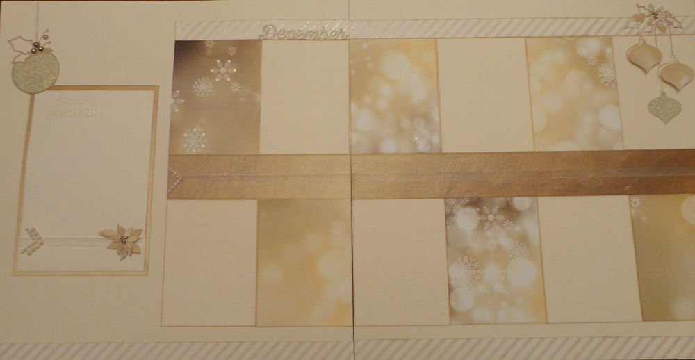 "I loved creating a Christmas layout that was non-traditional.  I used several Memory Box Dies in this layout: Poinsettia Bloom Trio, Clairmont Ornaments and one that has been discontinued.  The title ""December"" was using the Tim Holtz ""Calendar Words"" die."