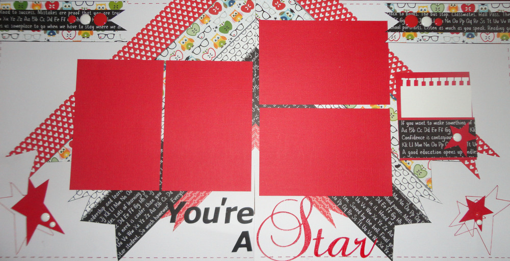 "The ""You're a Star"" kit consisted of papers from Bella Blvd.'s collection ""Star Student"".  Some stars are cut out using a Star Movers and Shapers Die from Tim Holtz.  I did some doodling on this layout to add interest and cut the word ""Star"" using my Silhouette machine."