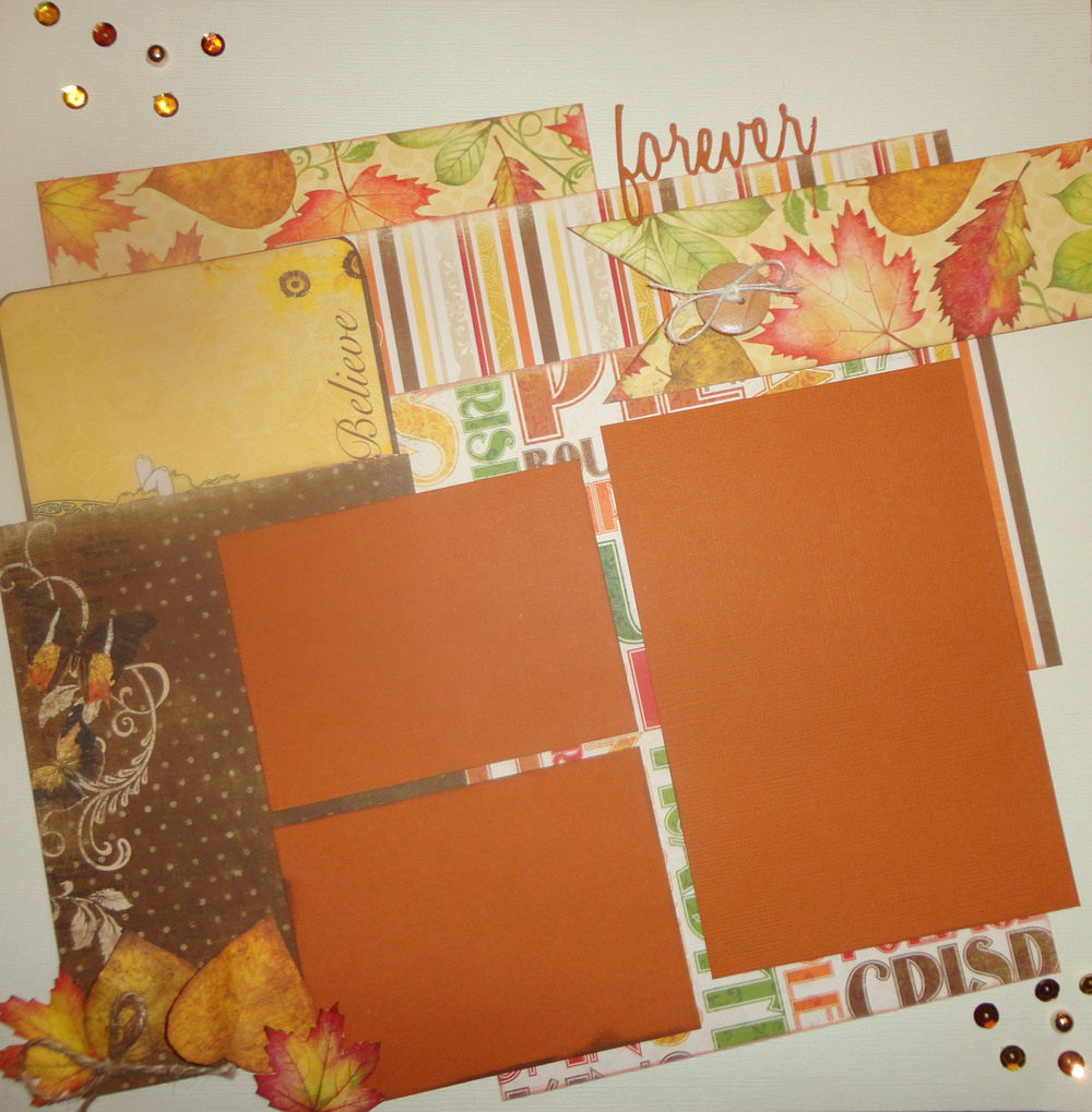 "This is a one page layout that I created using Bo Bunny's ""Enchanted Harvest"" collection.  I fussy cut the leaves from one of the papers and added a few sequins for sparkle."