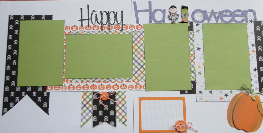 I love this line of Halloween papers from Doodlebug Designs called October 31st.  I created the title on my Silhouette machine and cut out a couple of the Halloween figures to create the "