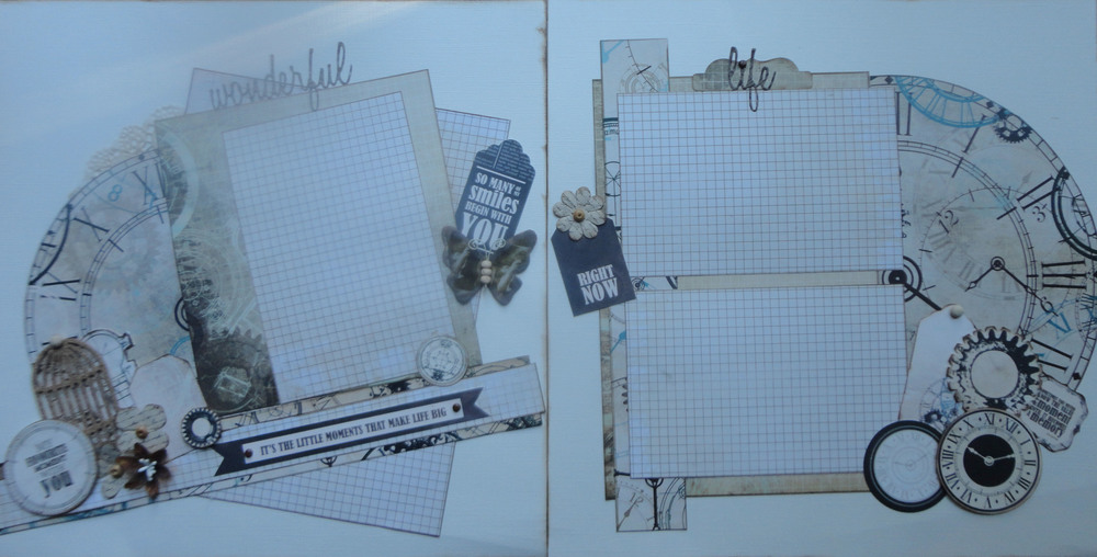 "I used the Kaisercraft Collection ""Time Machine"" for this layout.  It was so easy to add some of the Ephemera that came with the collection.  I also used the Tim Holtz Thinlets ""Adventure Words"" and ""Friendship Words"" for the title."
