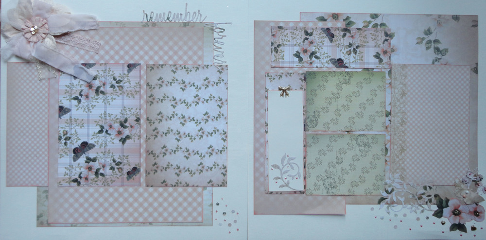 In this layout, I wanted to show that you can use background papers as your mats.  I did some fussy cutting to create some of the embellishments and added a title that I created using my Silhouette machine.