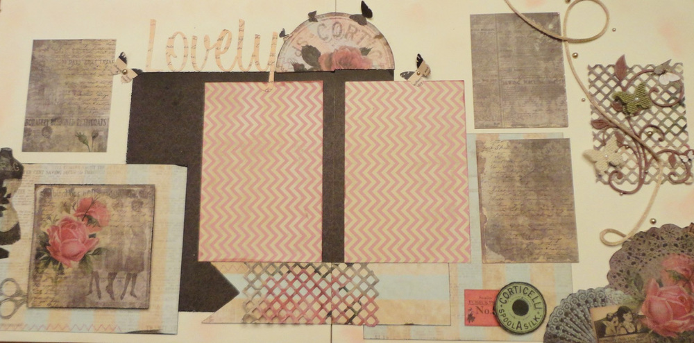 "This layout was created using an older line from Marion Smith called ""Garment District"".  The lattice panel was from a Trellis design from Spellbinders.  I also fancy cut some of the elements from the papers to add as embellishments."