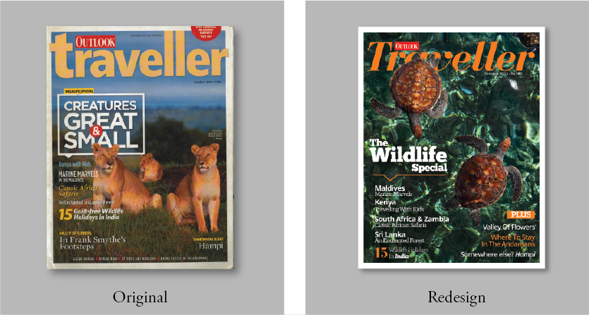 Original Magazine cover (L), and Redesigned Magazine cover (R).