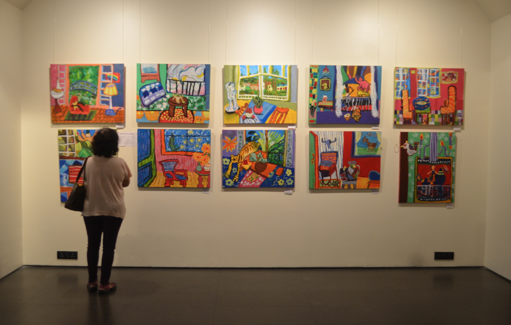 Paintings by the elementary school batch (ages 5-10) at the gallery