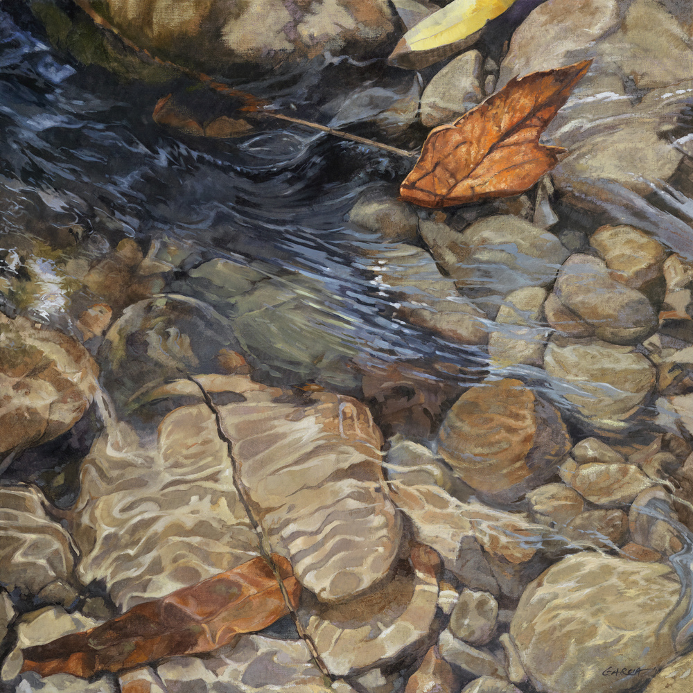 Mission Creek, 36 x 36, oil on board. Contact  Tartaglia Fine Art
