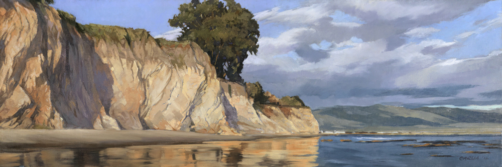 Thunderheads Over Shoreline 8x24, oil on linen, sold.