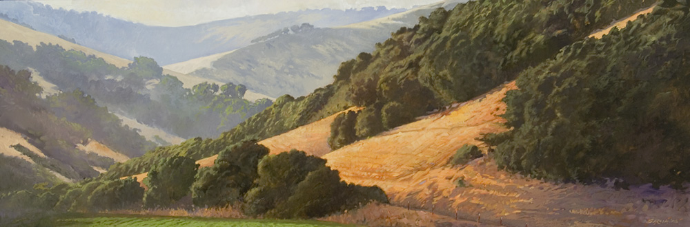 View From Jalama Road 12x36, oil on canvas, sold.