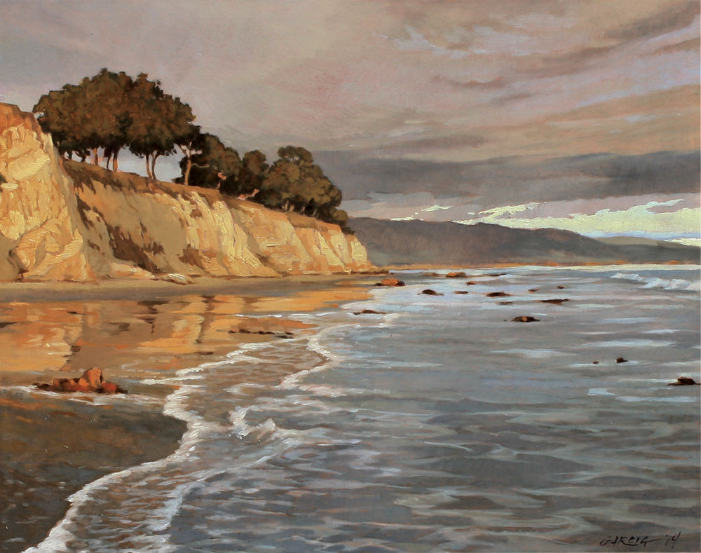 Last Light, Shoreline Park, 11x14, oil on board, sold.