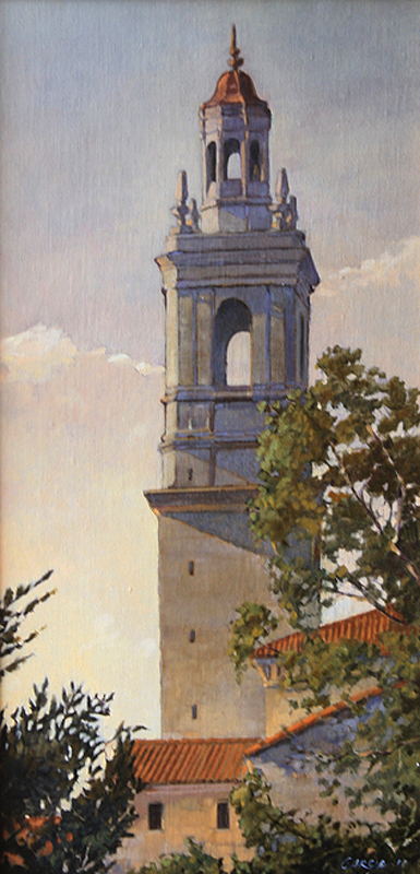Morning Light on the Seminary, 20x10, oil on linen, sold.