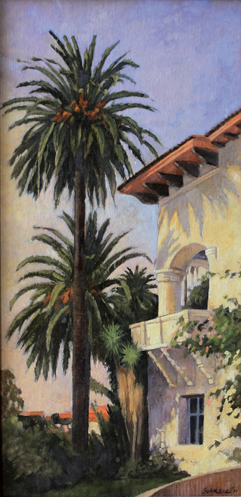Santa Barbara Courthouse Corner, 20x10, oil on linen, sold.