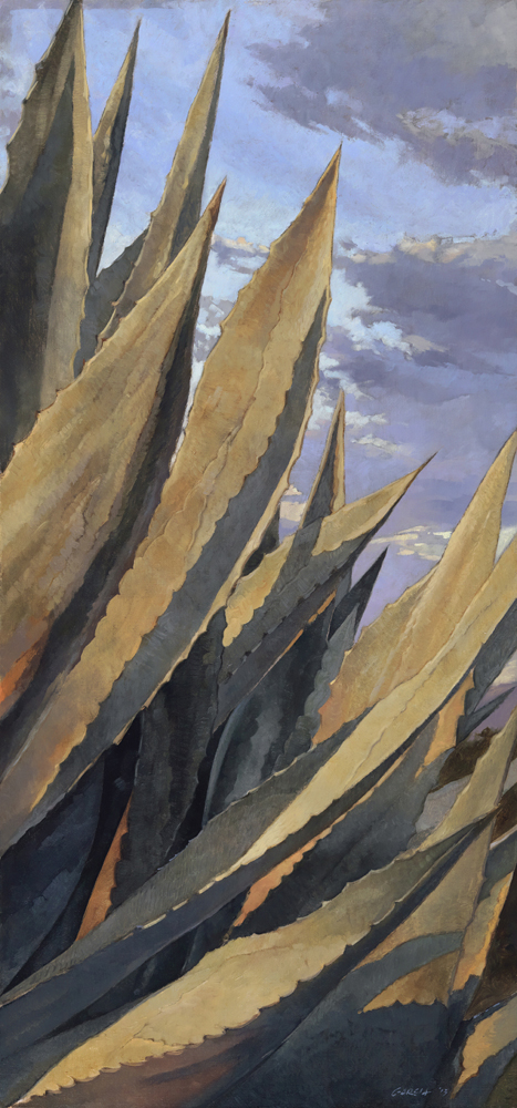 Agave Glow, 30x14, oil on linen, sold.