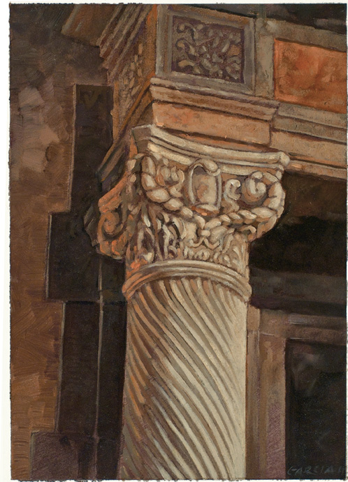 Architectural Design of Reginald Johnson Column, oil on paper, sold.