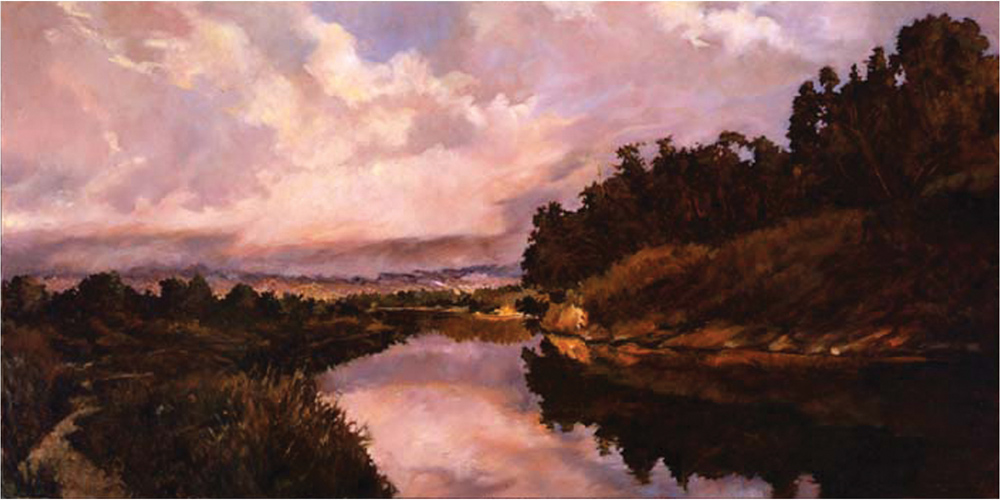 Thunderheads Over Goleta, 24x48, oil on canvas, sold.