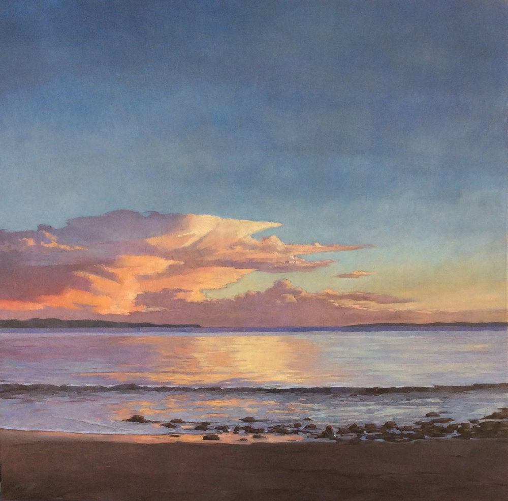 Sunset Over the Channel Islands, 30x30, oil on canvas. available at artist studio
