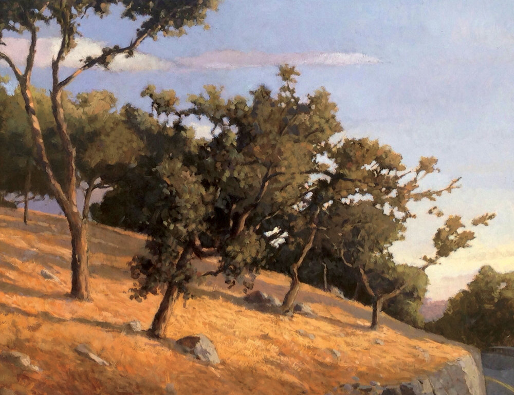 Oaks off Mountain Drive, 11 x 14, oil on board.  Waterhouse Gallery