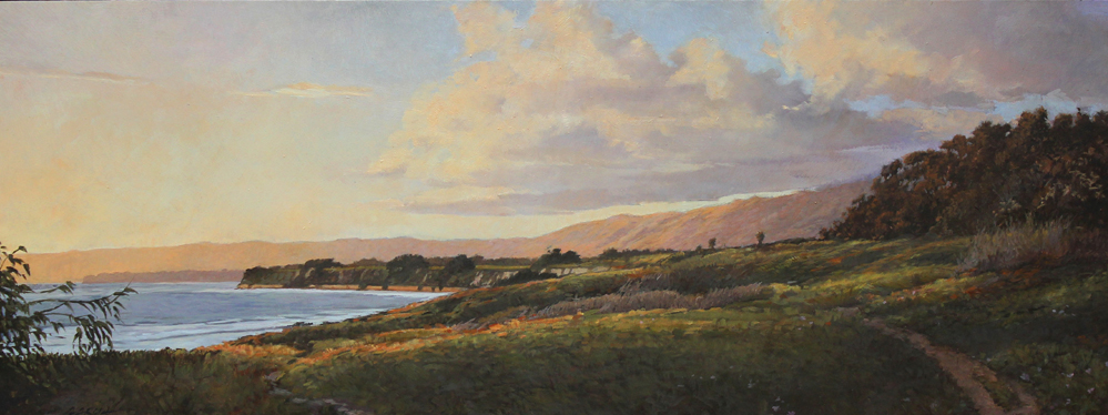 Trail to the Bluffs, 11x29, oil on board. available at  Waterhouse Gallery