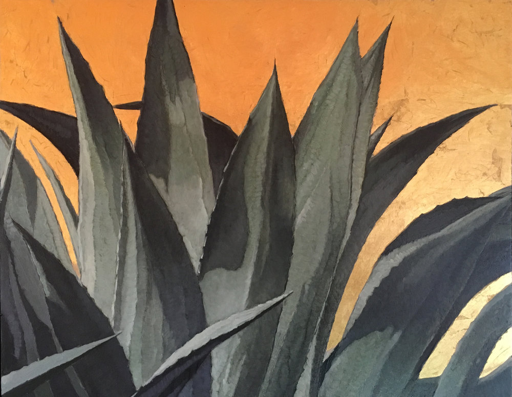 Agave Gold, 11 x 14, oil on board with 24kt gold leaf. Contact the artist