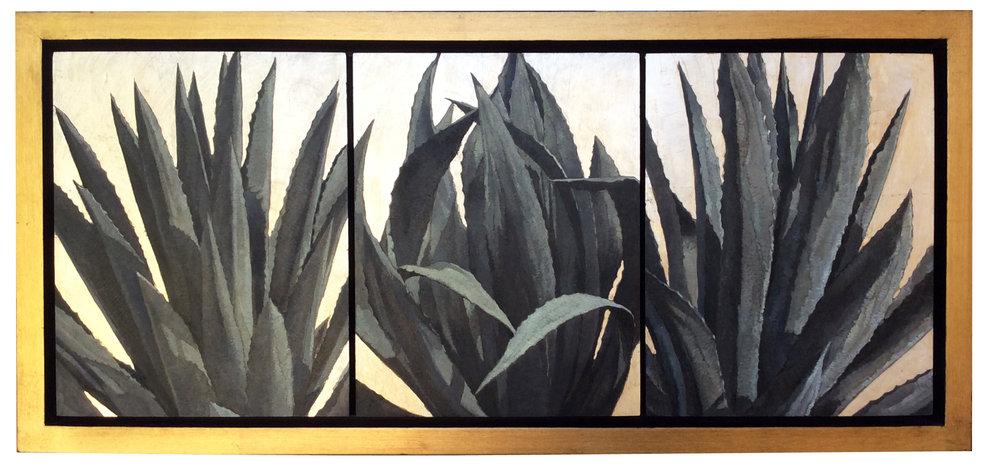 Triple Distilled Cuervo Silver (triptych), 10x24, oil and silver on board, Contact  Tartaglia Fine Art