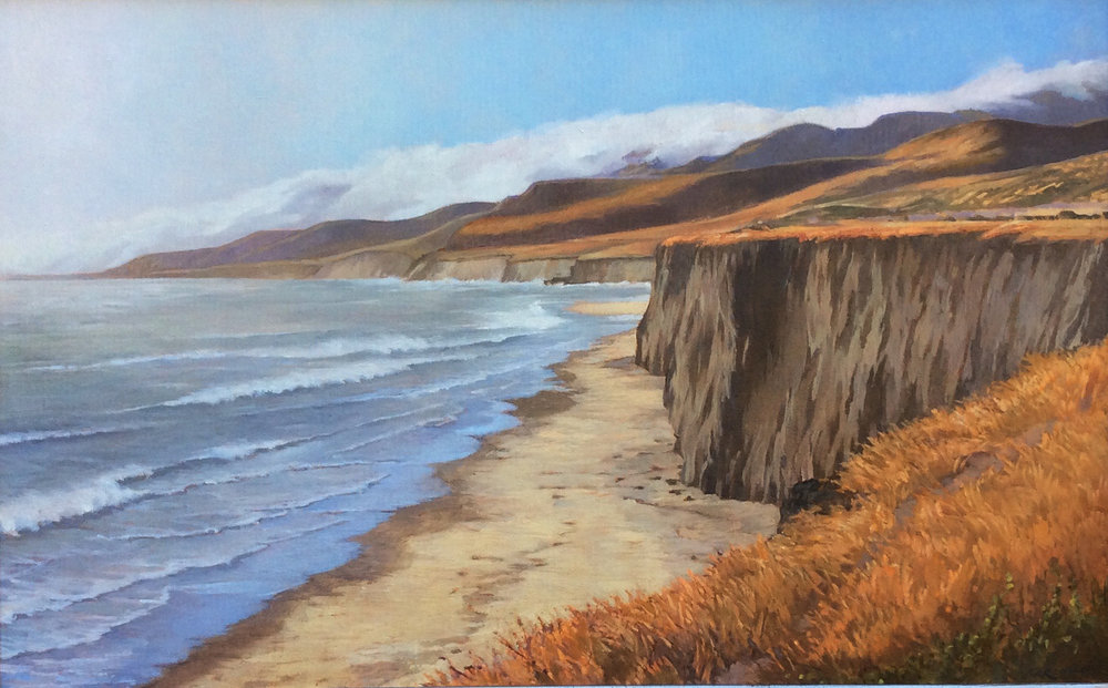 Another Windy Day at Jalama, oil on canvas 18x29, contact artist's studio