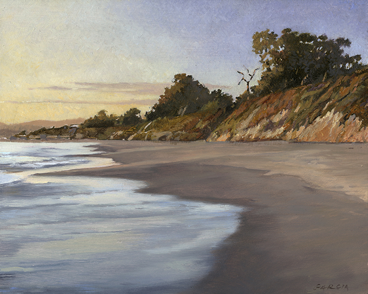 Jellybowl Beach, Carpinteria, 8x10, oil on board, available at artists studio  SOLD