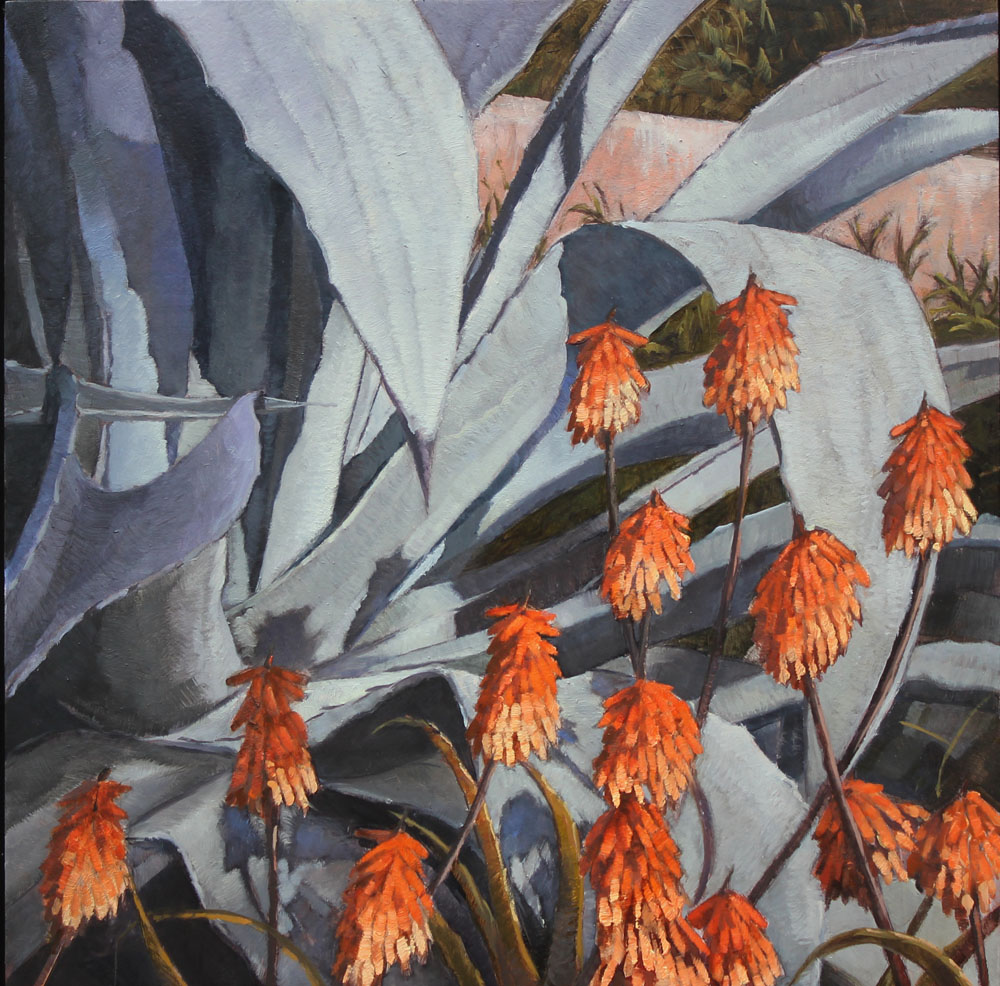 Agaves and Aloes - Lotusland 12 x 12, oil on board. Contact   Waterhouse Gallery