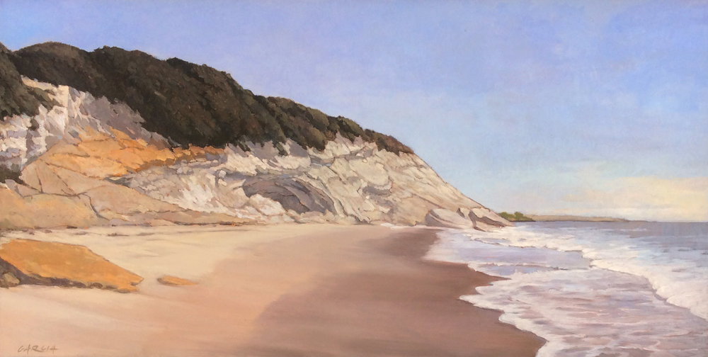 Seacave Near Refugio, 10x20, oil on board, available at  Waterhouse Gallery