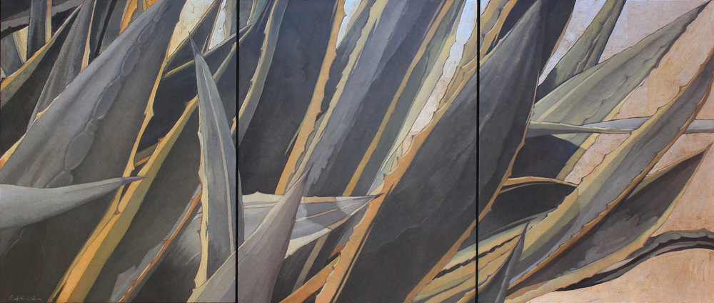 Variegated Agave (triptych) 14x33 oil on board with silver leaf, available at  Waterhouse Gallery