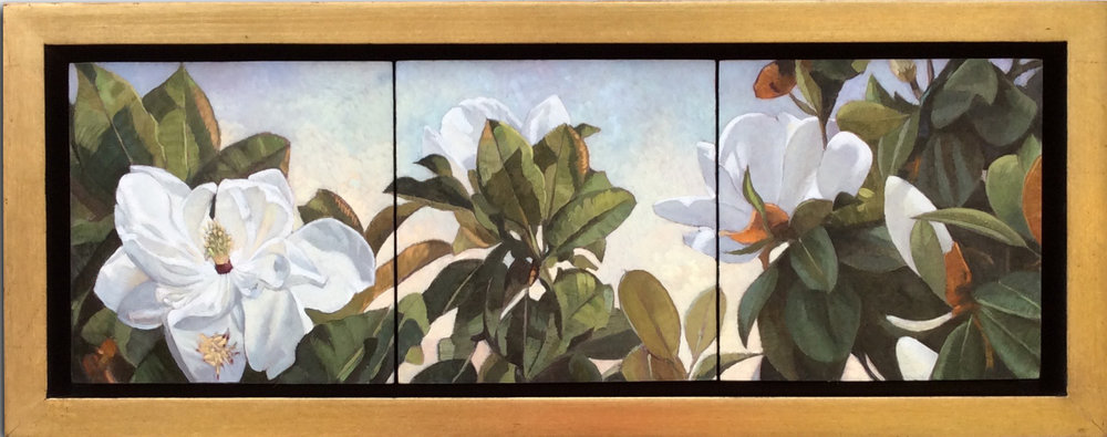 Magnolia Madness (triptych) 6x18,  Available at Artist's Studio SOLD