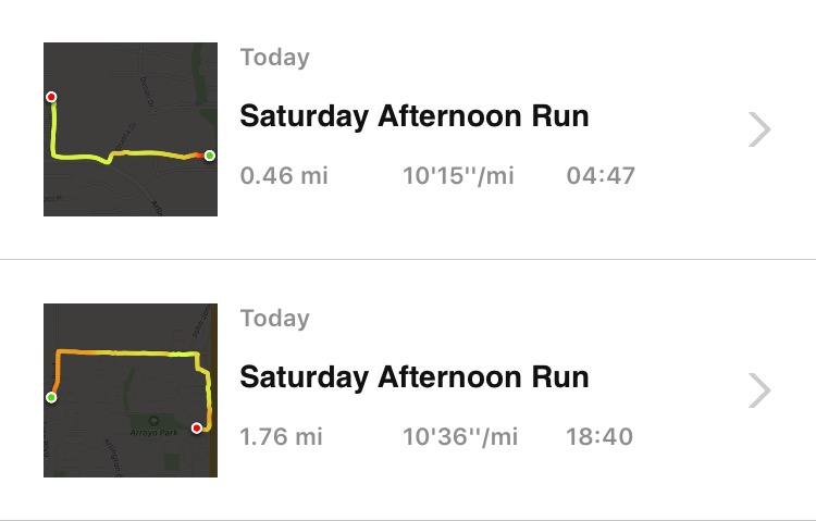 My one run ended up being two shorter runs today. But hey, I got outside.