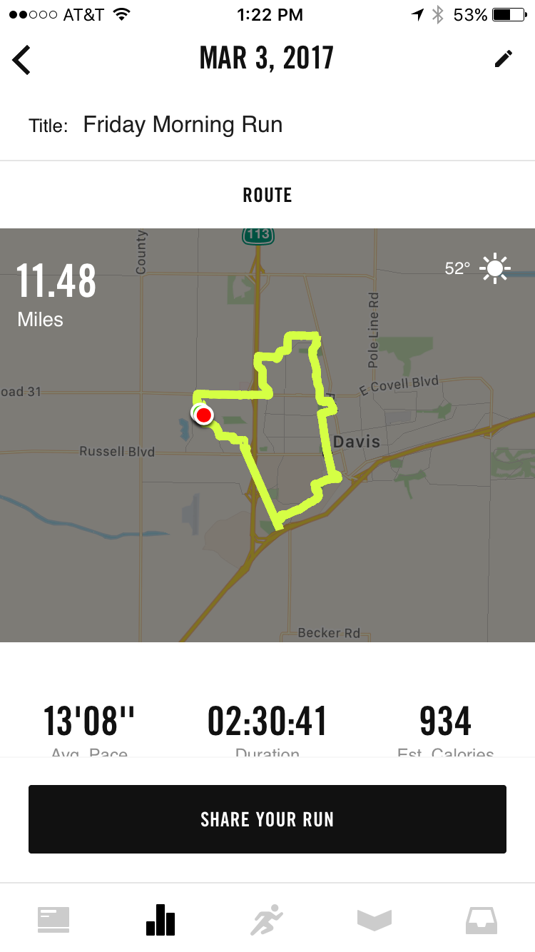 My tracking app failed to record almost a 2-mile stretch of the run, so I had to add it manually... and it made my thumbnail map look weird. I swear, it's the little things that bug a girl...