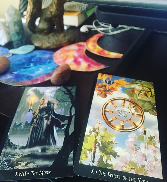 Today's pulls... the Moon and Wheel of the Year... trust your intuition, the Moon says... you have the power within you... and tap into the energy of the seasons, the Wheel says (excitement, energy and vibrancy of summer transitioning to abundance, gathering, and remembrance in the fall)... let the momentum of each season's magic pull you toward good fortune... #everydaymagic #tarot #tarotreadersofinstagram #witchestarot #mindful #valued #joyful