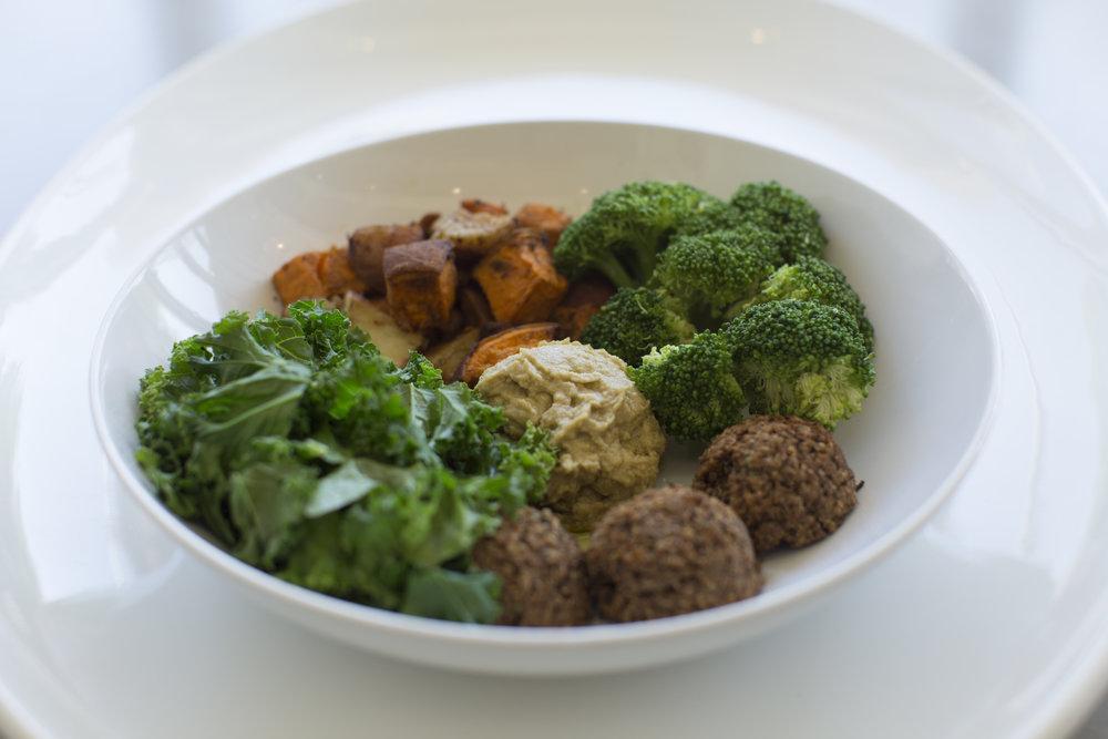 Broadway Bowl- quinoa balls, hummus, brocolli, sauteed kale, raosted sweet potatoes
