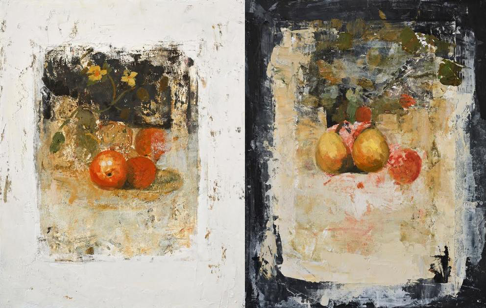"""Still life"" & ""Still life II"", oil & wax on wood, 19 3/4"" x 15 3/4"""