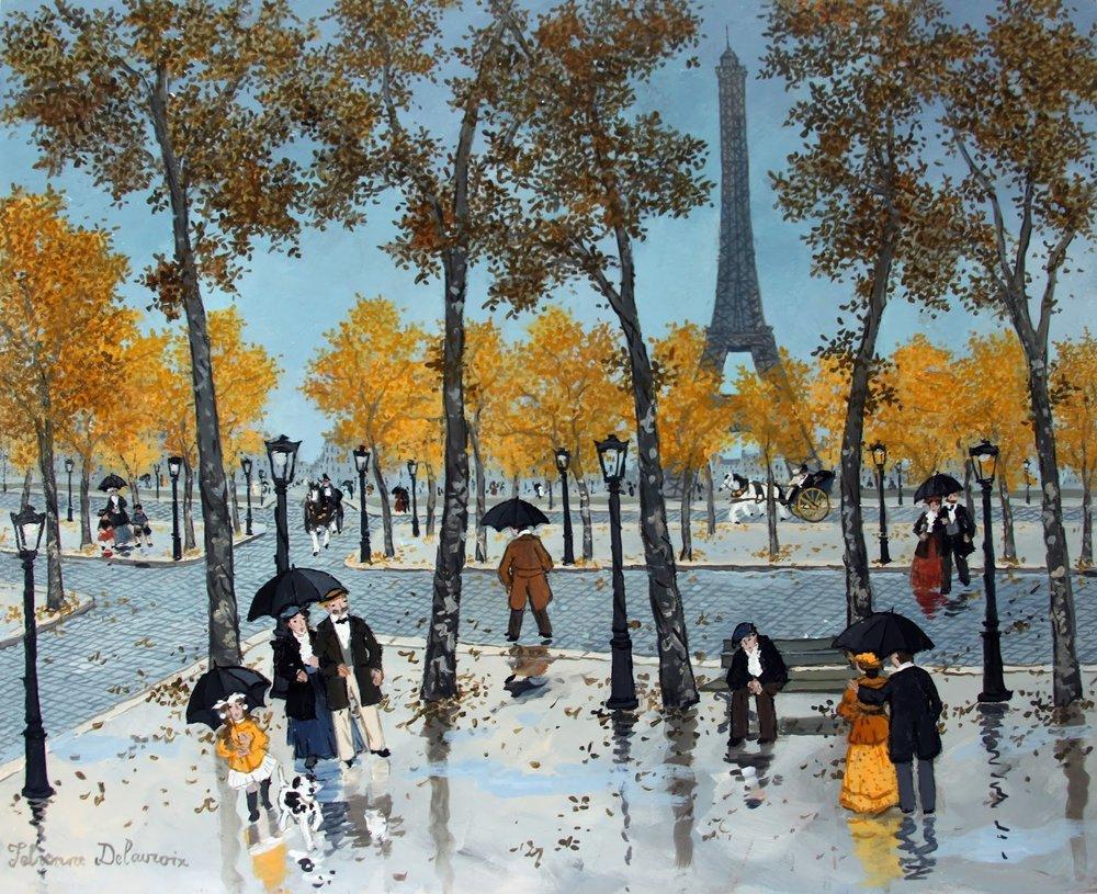 """Fabienne Delacroix, """"Les 12 vues de la Tour Eiffel Octobre"""", acrylic on board, 12"""" x 16"""""""