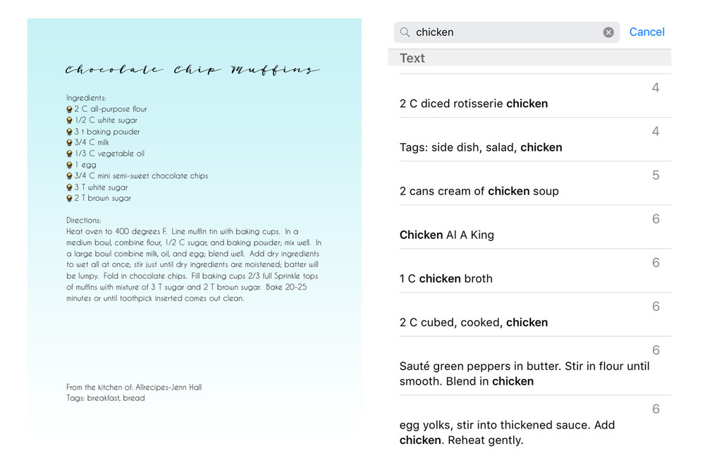 Add tags to your recipes to search them with ease.