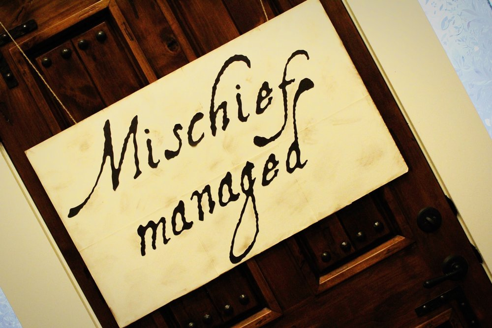 harry potter party_mischief managed_marauders map sign