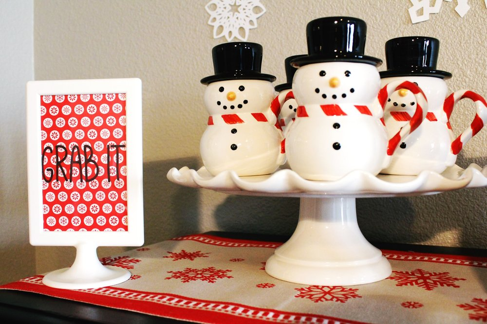 Hot Chocolate Cocoa Bar Party Williams Sonoma Snowman Mugs Hat Design Organize Party.jpg