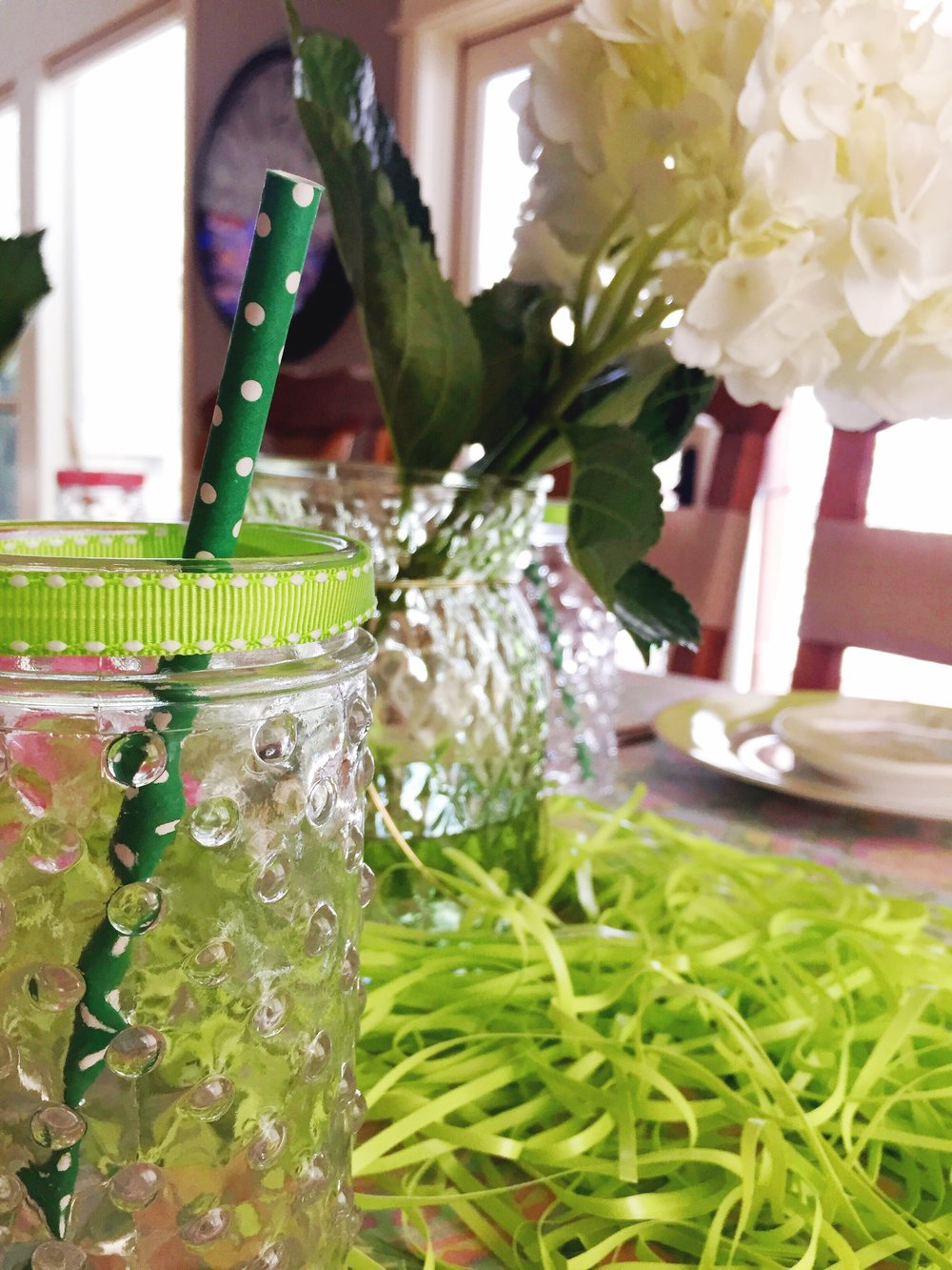 Green Easter Table Color Party Ideas_Grass_Hobnail Glass_Design Organize Party.JPG