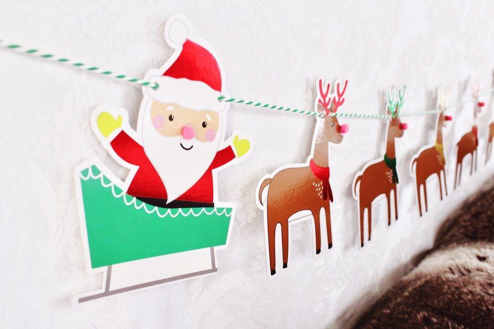 Santa Sleigh Reindeer Banner_Target Dollar Spot_North Pole Letters to Santa Party_Design Organize Party.JPG