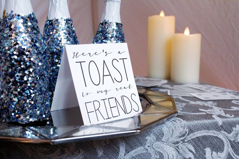 Here's a toast to my real friends_Taylor Swift New Year's Eve_Glitter Sparkling Cider Bottles_Design Organize Party.JPG
