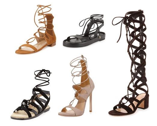 These sexy strap gladiators add flare to any outfit.  High end :  Stuart Weitzman 495$ Lower end : Forever 21 34.90$