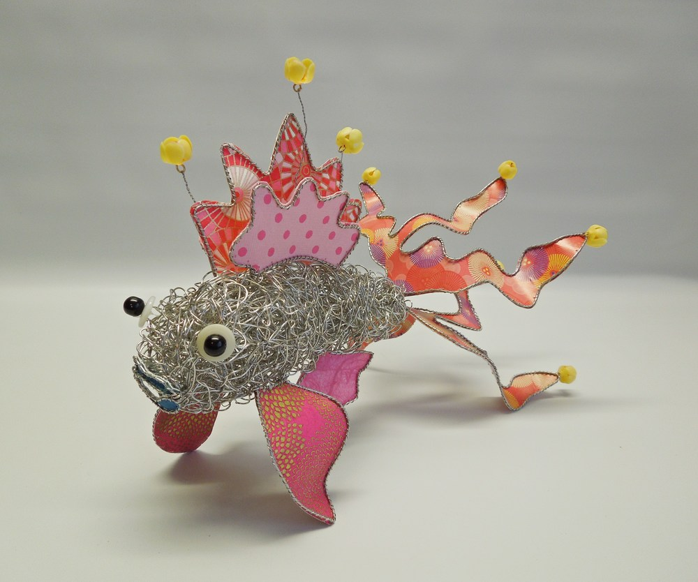 Spring Reds Fish - stainless steel, paper, beads