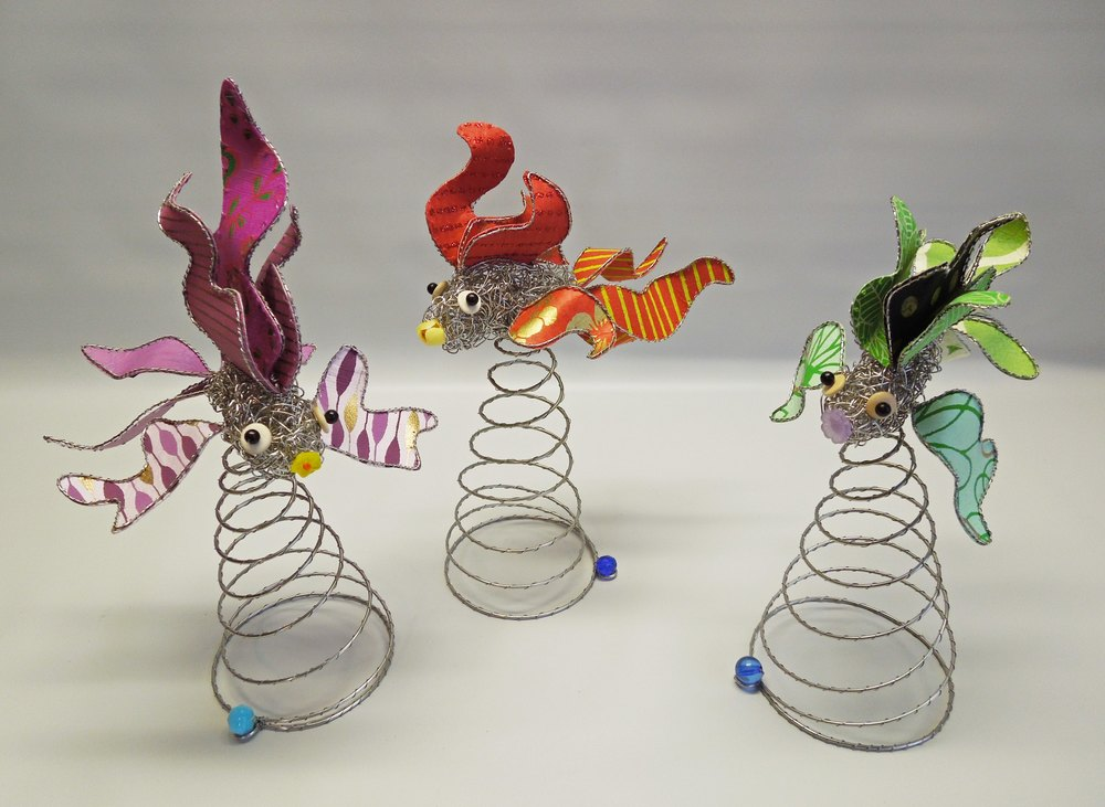 Freshwater Fish -stainless steel, paper, beads